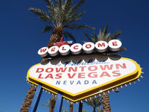 Downtown Las Vegas Welcome Sign. Different variation then the Las Vegas strip welcome sign Stock Photo