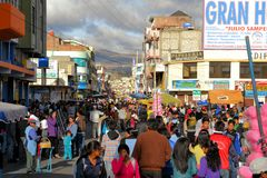 Downtown Latacunga is crowded during La Fiesta de Royalty Free Stock Photo