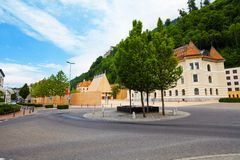 Downtown of Liechtenstein capital,. Downtown of Liechtenstein kingdom capital, tiny country in Europe Royalty Free Stock Image