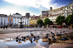 Downtown Lisbon. Panorama of Rossio Square in old downtown Lisbon, Portugal Royalty Free Stock Images