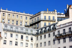 Downtown, Lisbon, Portugal. Detail of some buildings at Lisbon's downtown Royalty Free Stock Photos