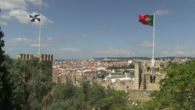 Downtown Lisbon, Portugal. As seen from Castelo Sao Jorge stock footage