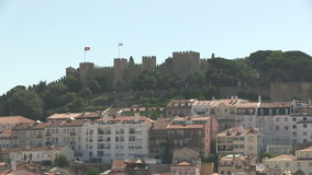 Downtown Lisbon, Portugal. With Castelo Sao Jorge stock footage