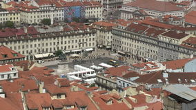 Downtown Lisbon, Portugal. City view of downtown Lisbon, Portugal with Rossio Square stock video