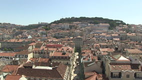 Downtown Lisbon, Portugal. With the historic neighborhood of Alfama stock video
