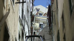 Downtown Lisbon, Portugal. Narrow alley in downtown Lisbon, Portugal stock video footage