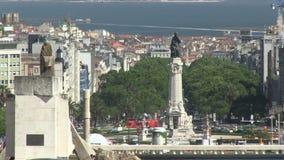 Downtown Lisbon, Portugal. Parque Eduardo VII in downtown Lisbon, Portugal stock footage