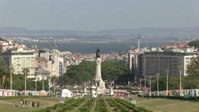 Downtown Lisbon, Portugal. Parque Eduardo VII in downtown Lisbon, Portugal stock video footage
