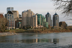 Downtown living. A view of downtown calgary, alberta, canada Royalty Free Stock Photo