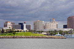 Downtown Long Beach. Panoramic shot of Downtown Long Beach, California. Cloudy day Stock Images