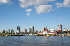 Downtown Long Beach. Panoramic of Downtown Long Beach, California, from a boat Stock Photo
