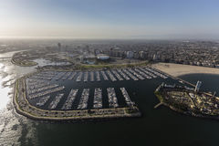 Downtown Long Beach Marina Aerial View Stock Photography