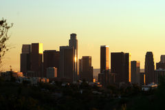 Downtown los angeles #37. Shot of skyscrapers in downtown los angeles as the sun sets Royalty Free Stock Photos