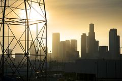 Downtown Los Angeles. Industrial view with power line in foreground Royalty Free Stock Image