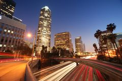 Downtown Los Angeles. Freeway traffic in downtown Los Angeles Royalty Free Stock Photos