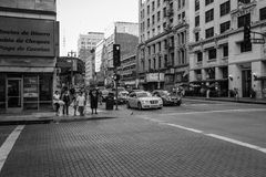 Downtown Los Angeles, Black and White. Family waiting to cross street, downtown Los Angeles, Black and White Royalty Free Stock Image