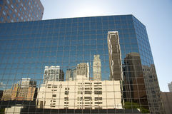 Downtown Los Angeles buildings reflected. On another buildings Royalty Free Stock Photo