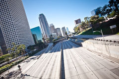 Downtown Los Angeles California freeway. Downtown Los Angeles California 110 freeway with no cars Stock Photo