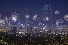 Downtown Los Angeles city scape with flashing fireworks on new years Royalty Free Stock Photography