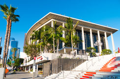 Downtown Los Angeles Dorothy Chandler Pavilion & Music Center. Downtown Los Angeles Dorothy Chandler Pavilion & Music Center with skyscrapers and palm trees Stock Photo