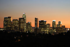 Downtown los angeles at dusk #5. Shot of skyscrapers in downtown los angeles at dusk Stock Image