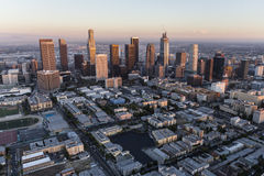 Downtown Los Angeles Dusk Aerial Royalty Free Stock Photography