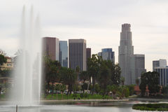 Downtown Los Angeles from Echo Park with Fountain Royalty Free Stock Photography
