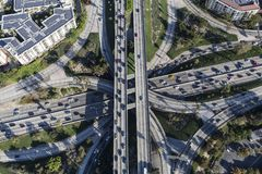 Downtown Los Angeles Four Level Freeway Interchange Aerial. Aerial view of four level Harbor 110 and Hollywood 101 freeway Interchange in downtown Los Angeles stock image