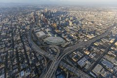 Downtown Los Angeles Freeway Interchange Aerial Royalty Free Stock Photos