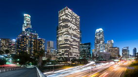 Downtown Los Angeles and freeway traffic Time lapse. Stock Photos