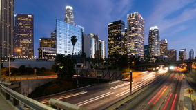 Downtown Los Angeles and freeway traffic Time lapse. Royalty Free Stock Photos