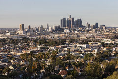 Downtown Los Angeles and Lincoln Heights Neighborhood. Early morning editorial view of Lincoln Heights and downtown Los Angeles Royalty Free Stock Photography