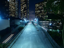 Downtown Los Angeles Night. Downtown Los Angeles. Modern city street, late at night Royalty Free Stock Photos