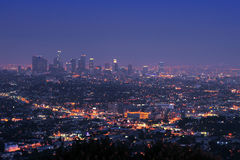 Downtown los angeles at night Stock Image