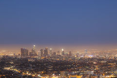 Downtown Los Angeles by night Stock Images