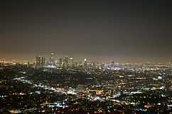 Downtown Los Angeles at night Stock Photo