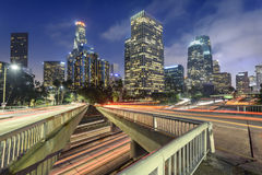 Downtown Los Angeles. At night with car traffic light trails Royalty Free Stock Images