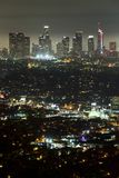 Downtown Los Angeles at night Stock Photos