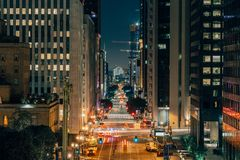 Downtown Los Angeles at night. Looking down street, California, US Stock Photos