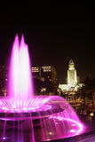 Downtown Los Angeles at night. With a fountain lit up and the courthouse in the background Royalty Free Stock Images