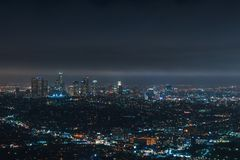 Downtown Los Angeles at night stock photography