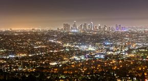 Los Angeles seen from Griffith Observatory at night. The downtown Los Angeles seen from the Griffith Observatory at nighttime Royalty Free Stock Photos