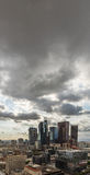 Downtown Los Angeles skyline with dark clouds Stock Photo
