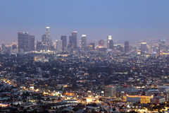 Downtown Los Angeles skyline at night Royalty Free Stock Photography
