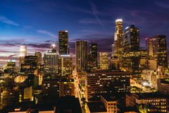 Downtown Los Angeles skyline at night. Los Angeles, USA - September 28, 2015: Downtown Los Angeles skyline at night Royalty Free Stock Images