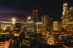 Downtown Los Angeles skyline at night. Los Angeles, USA - September 28, 2015: Downtown Los Angeles skyline at night Royalty Free Stock Photography
