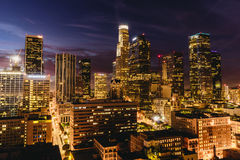 Downtown Los Angeles skyline at night. Los Angeles, USA - September 28, 2015: Downtown Los Angeles skyline at night Stock Photography