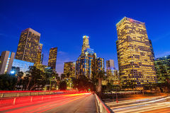 Downtown Los Angeles skyline during rush hour Stock Images