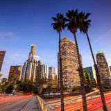 Downtown Los Angeles skyline during rush hour Stock Photography