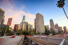 Downtown Los Angeles skyline during rush hour Royalty Free Stock Image